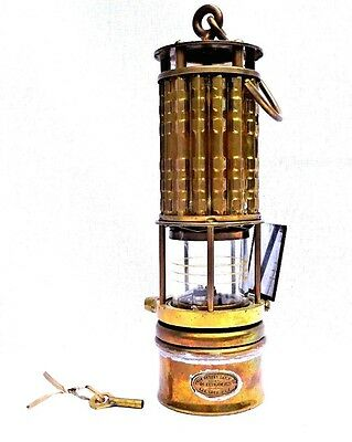 Exceptional Brass Mine Safety Lamp by Wolf Safety Co. w/Orig. Key & Mirror RARE!