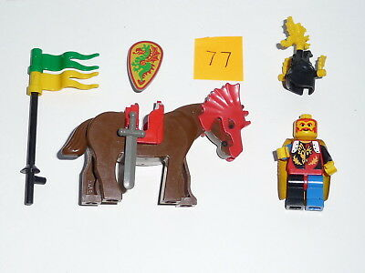 Lego, Minifig item 77, a mounted knight with sword, shield + lance with pennants