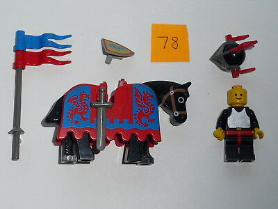 Lego, Minifig item 78, a mounted knight with sword, shield + lance with pennants