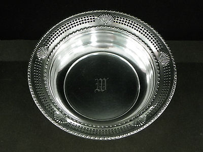 "Vtg 5 1/2"" Sterling Silver Reticulated Bowl-Fred Hirsch ""Fanfair""-1920-1945-84g"