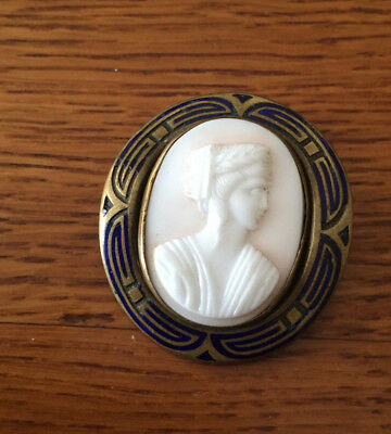 Antique early Victorian Gold Metal and Enamel   cameo brooch - C clasp