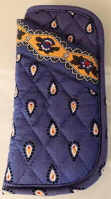 Vera Bradley French Blue 7 Yellow Floral Paisley Double Eyeglass Quilted Case