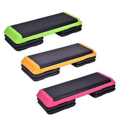 """43'' Cardio Adjust 4""""-6""""-8"""" Exercise Stepper &Risers Fitness Aerobic Step 3Color"""