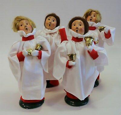 Byers Choice 1999 Carolers Goup of Four (4) Bell Ringers in Red Robes