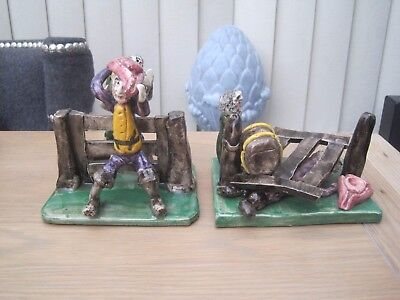 2 Will Young Studio Pottery Figures Before And After Fence Devon