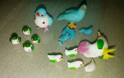 Vintage Miniature Hand Blown Glass Bird Figurines