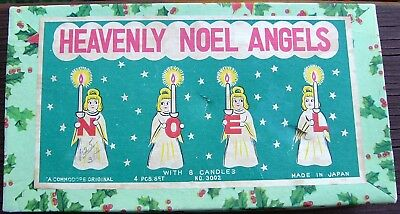 Vintage Japan Christmas Heavenly Noel Angels Candle Holders Commodore Co. Boxed