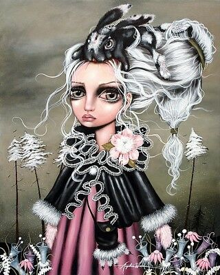 Eloise by Angelina Wrona Art Print Poster Fantasy Girl Pink Hair Rose 32x24