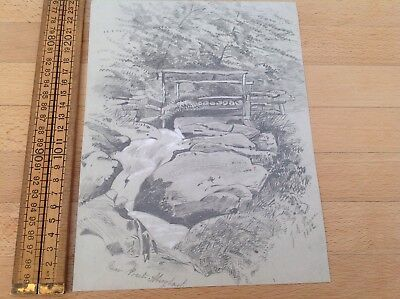 Antique Sketch Of Water Fall Signed J E Price