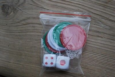 Old Style Pilsner Dice And Playing Chips From Board Game (Replacement Pieces)