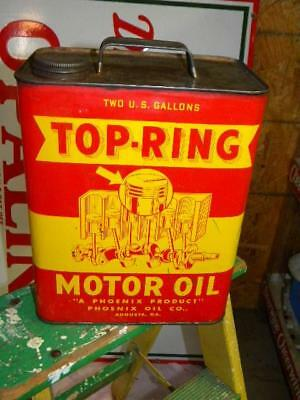 Old Graphic TOP RING 2 Gallon Motor Oil Can Phoenix Oil Co Agusta Georgia