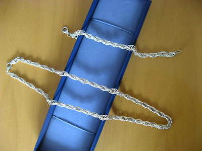 Glitter cut sterling silver rope chain design necklace and bracelet set