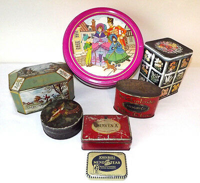 Rare Selection of 7 Vintage Collectable Tins Craven A Mackintosh's J.Lyons & Co