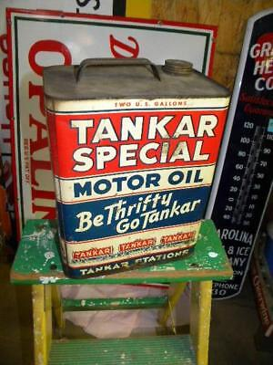 Old Graphic Tankar 2 Gallon Motor Oil Can with Trains