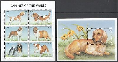 B156 Nevis Animals Dogs Canines Of The World 1Kb+1Bl Mnh