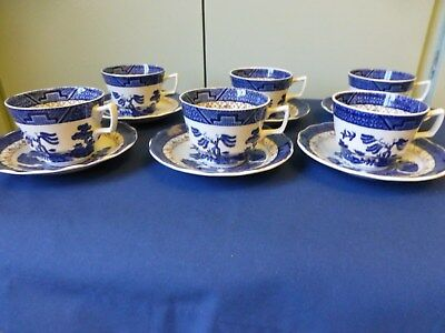 """Vintage set of 6 Tea Cups and 6 Saucers in """"Real Old Willow"""" Design by Booths"""