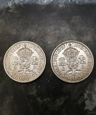 1937 two shillings x2 coins , 50 % silver ,HIGH GRADE COINS , lot 5