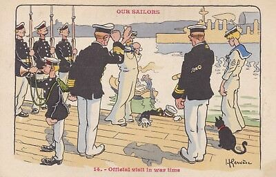 """Royal Navy """"our Sailors"""" - Comical By H. Gervese No. 14 """"official Visit In War"""""""
