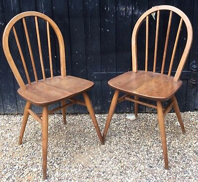Pair Of Vintage 1950's / 60's Blonde Ercol Windsor Kitchen Dining Chairs