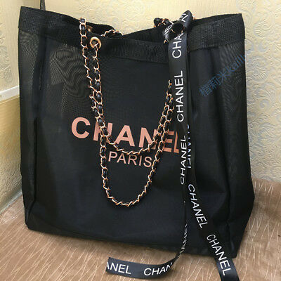 CHANEL VIP Gift Black Mesh Shopping Travel Tote bag Leather Rose Gold Chain