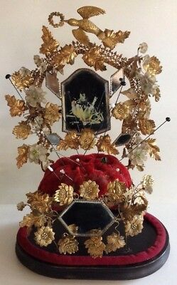 Globe de Mariee French Victorian Wedding Display Stand Antique Red Velvet Gold