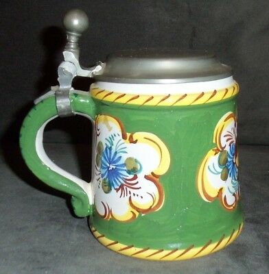 F. S. Made in Italy, Italian Art pottery Mug Stein With German Pewter Lid PreWar