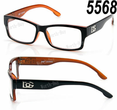 New DG Square Clear Lens Frame Glasses Fashion Nerd Mens Womens Designer Orange