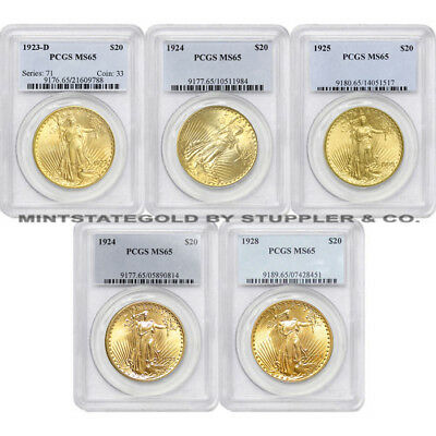 Lot of 5 $20 Saint Gaudens PCGS MS65 Gem Gold Double Eagle coins Random Years