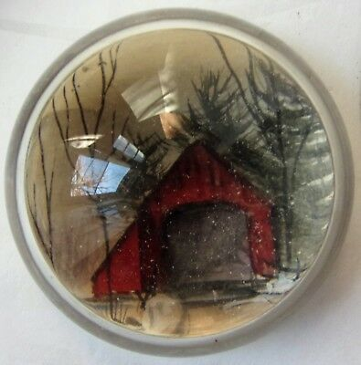 Antique Red Covered Bridge Souvenir Magnum Glass Paperweight Reverse Painting