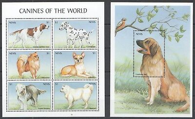 B157 Nevis Animals Dogs Canines Of The World 1Kb+1Bl Mnh