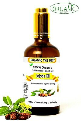 Jojoba Oil Organic Cold Pressed Undiluted,Certified, Premium Quality 10 ml