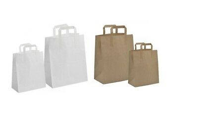 Brown & White Kraft Sos Paper Bags Food Carrier With Handles Deli Lunch Food