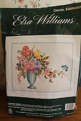 Elsa Williams Crewel Embroidery Kit VTG Stanford Floral Michael Leclair
