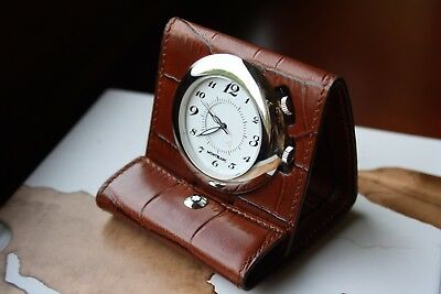 MONTBLANC CROCODILE LEATHER Travel Pocket WATCH, Alarm, Clock SWISS MADE 7056