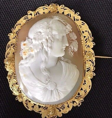 Fine Antique Georgian Shell Cameo Brooch Antinous Bacchus 14k Cannentille Gold