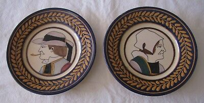 Antique Vintage HB Quimper Pottery PORTRAIT PLATES