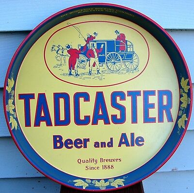 Vintage TADCASTER Beer and Ale Serving Tray Advertising Worcester Mass MA