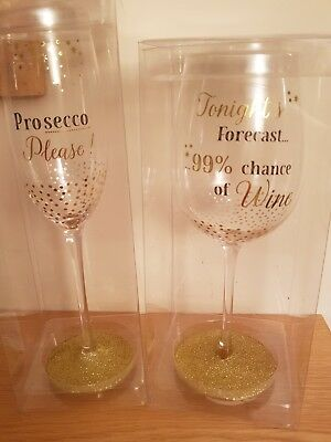Decorated Prosecco and Wine Glass with Glitter base