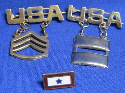 WWII Sterling Army Captain, Sergeant, Son In Service Home Front Pins Lot Of 3