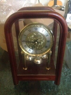 Wood And Glass Table Clock With Pendulum REDUCED!!
