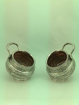 Antique Solid Silver Asian / Indian Condiments Pots