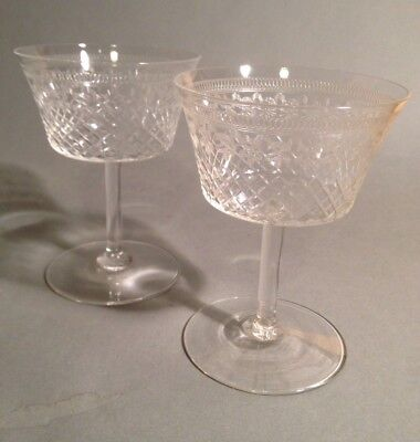 The most stunning Pair of Vintage Etched Champagne Saucers