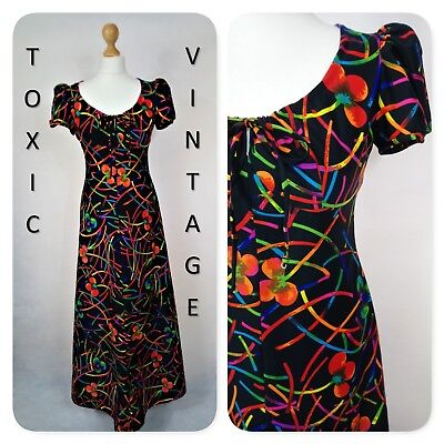 VINTAGE 1960s 1970s BLACK RAINBOW FLORAL GEOMETRIC PRINT MAXI UK12 RETRO EVENING