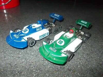 Scalextric C129 & C131 March Ford 6 Wheeler F1 Car Race Pair Blue & Green Cars