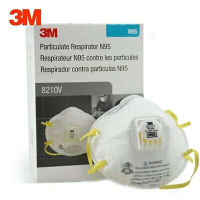 3M 8210V N95 Particulate Respirator Mask W/Exhalation Valve 10/Box *Free US Ship