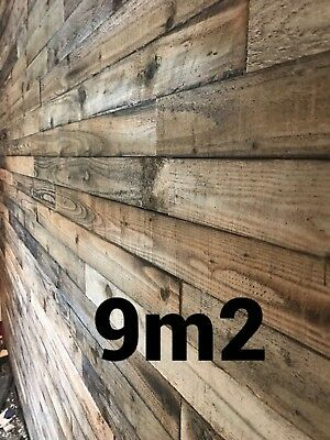 Rustic Cladding Reclaimed Pallet timber Real wood feature wall 9m2 pack 9sqm