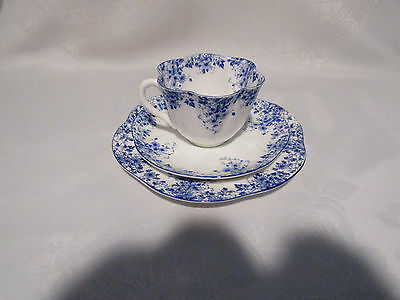 Shelley Trio Cup & Saucer Pie Plate Fine Bone China (Dainty Blue) Made in Englan