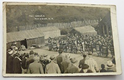 ORIGINAL c1920 RP POSTCARD OF POI DANCE ROTORUA NEW ZEALAND