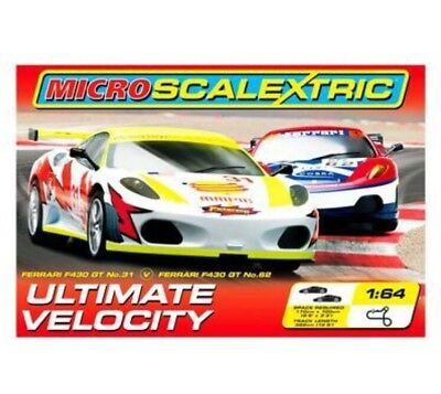 MICRO SCALEXTRIC ULTIMATE VELOCITY    RACE SET  FERRARI F430 GT Boxed Set Ex Con