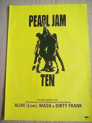 Pearl Jam 1992 Ten Album Yellow Advert A4 size to frame? Kerrang